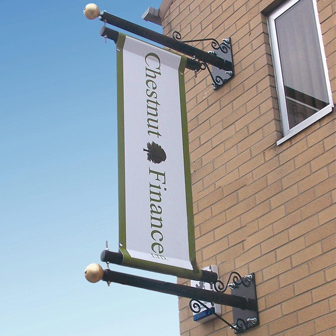 Custom wall mounted banner pole